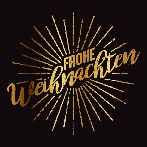 Frohe Weihnachten German Gold Foil Sunburst A grungy gold foil effect spelling 'Merry Christmas' on black. File is built in CMYK for optimal printing. weihnachten stock illustrations