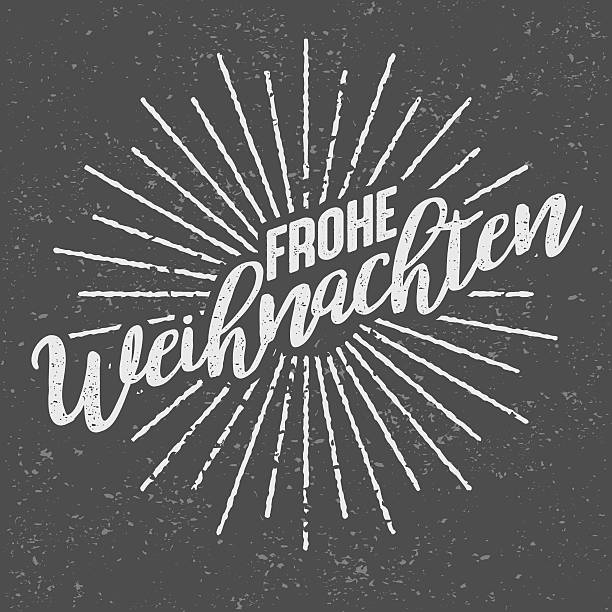 Frohe Weihnachten German ('Merry Christmas') Vintage Screen Print An aged retro vintage sunburst/starburst icon with decorative Merry Christmas text. The lines are grungy and weathered to look older. The grunge background is on its own layer so it's easy to remove. weihnachten stock illustrations
