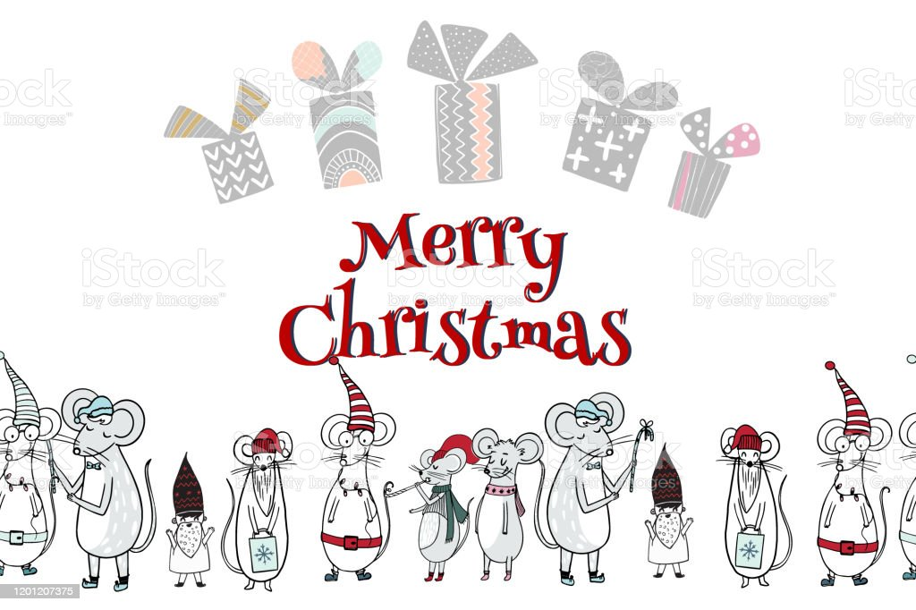 Merry Christmas Gift Card Template With Cute Cartoon Mouses Holiday Positive Print Postcard Stock Illustration Download Image Now Istock