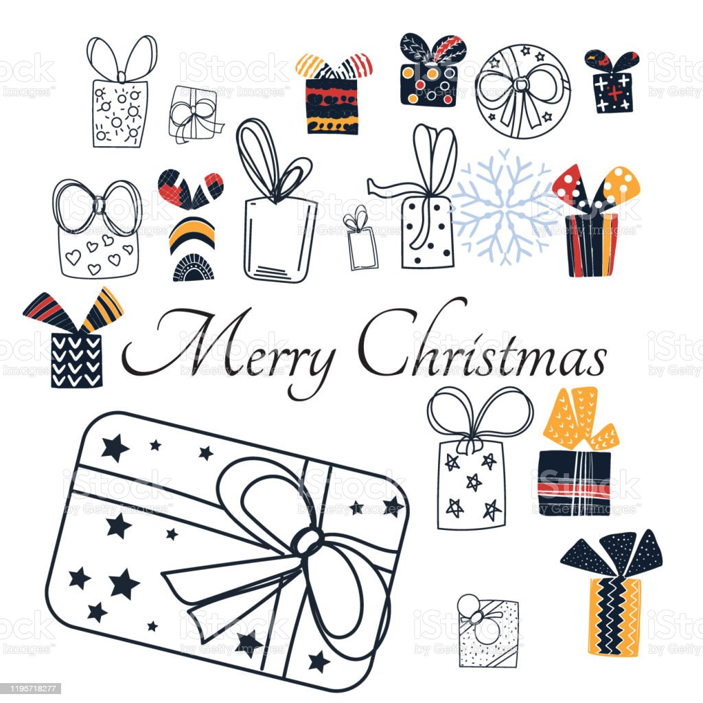 Merry Christmas Gift Card Template With Cute Nordic Gift Box Holiday Positive Print Postcard Stock Illustration Download Image Now Istock