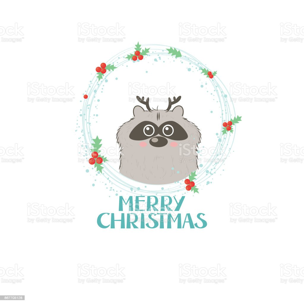 Merry Christmas Gift Card With Lettering And A Small Racoon Stock ...
