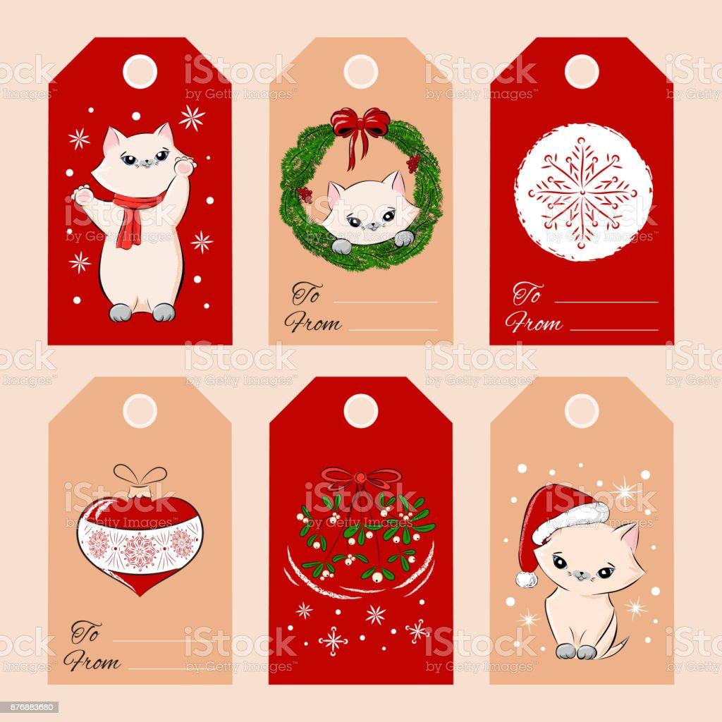 メリー クリスマス ギフト タグ セット テンプレート ベクトル お祝い