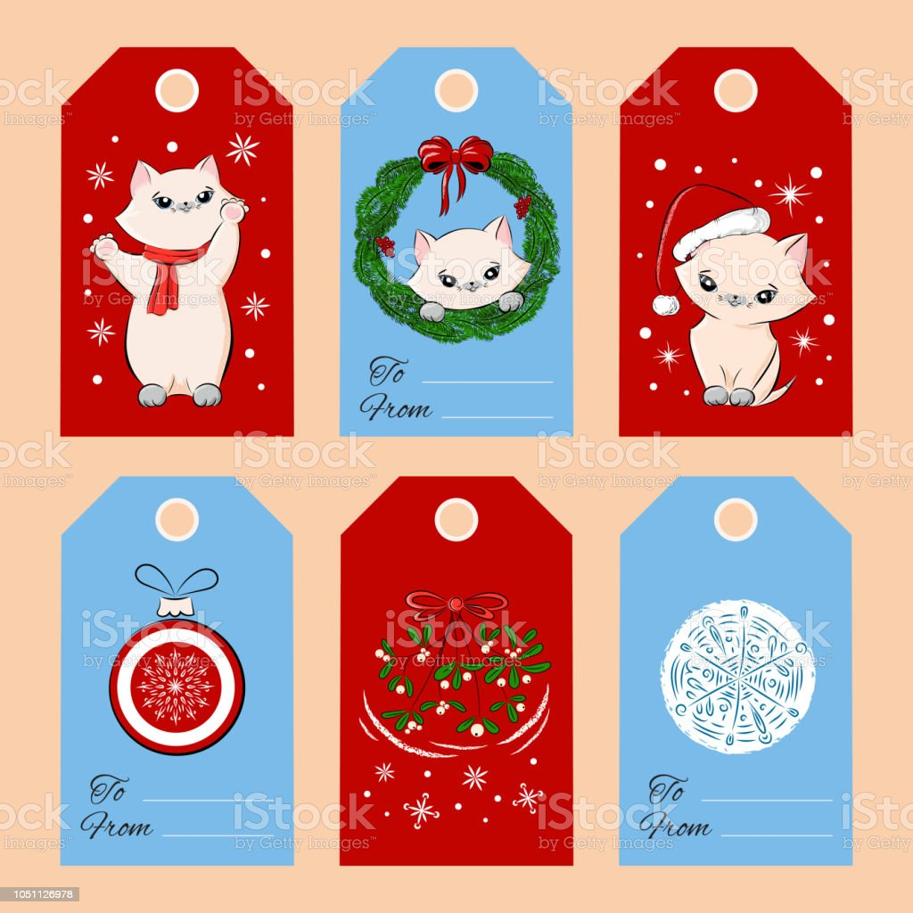 merry christmas gift tags set template vector vintage cute baby kitten and holiday decoration