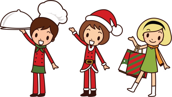 Merry Christmas Girls, Greeting, Carrying a covered dinner plate, Shopping