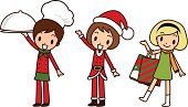 Vector illustration - Merry Christmas Girls, Greeting, Carrying a covered dinner plate, Shopping.