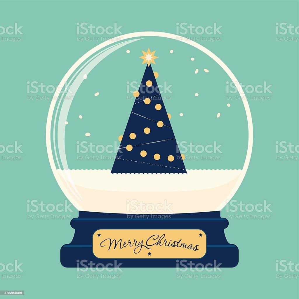 Merry christmas glass ball with tree vector art illustration