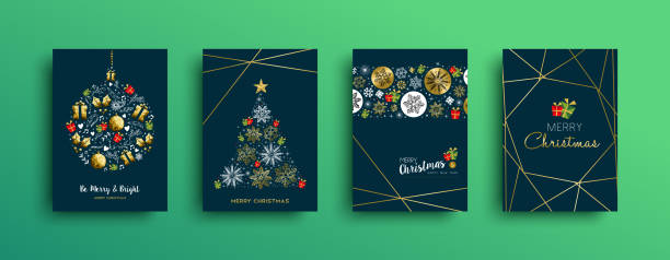 ilustrações de stock, clip art, desenhos animados e ícones de merry christmas gold decoration card collection - christmas card