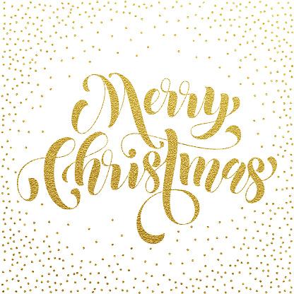 Merry Christmas gold glitter lettering greeting
