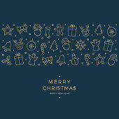merry christmas gold icon elements