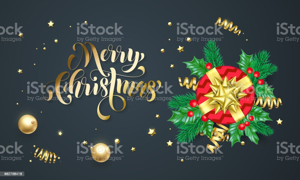 Merry christmas golden decoration and gold font calligraphy greeting merry christmas golden decoration and gold font calligraphy greeting card design vector christmas gift box m4hsunfo