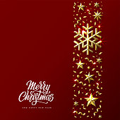 Christmas Background with Decorative Stripe made of Gold Stars, Snowflakes and Beads. Bright Christmas Greeting Card with handwritten lettering. Vector Illustration.