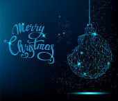 Merry Christmas greeting card. Blue Christmas tree ball with handwritten lettering. Bright polygonal decoration. Vector illustration