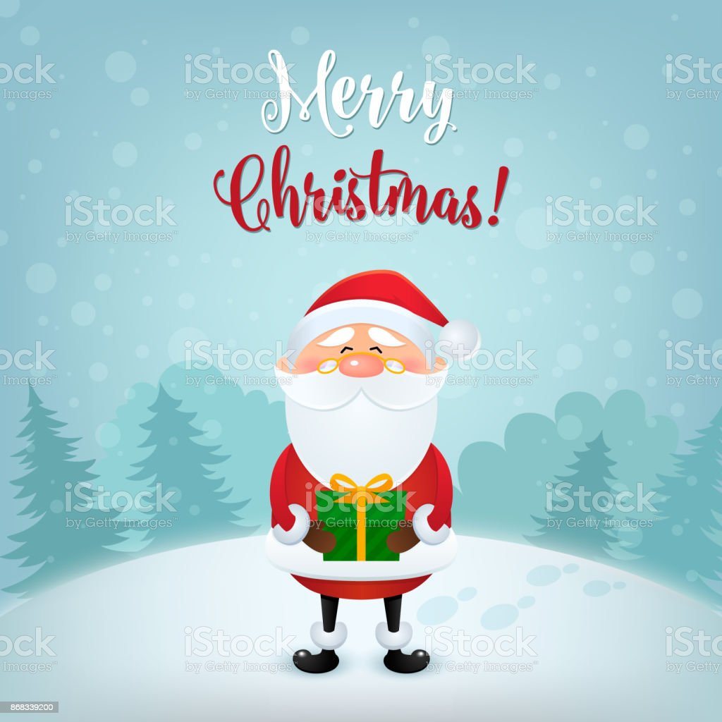 Christmas Card Background.Merry Christmas Greeting Card Christmas And New Year Background With Cute Santa Claus Vector Illustration In Eps10 Stock Illustration Download Image