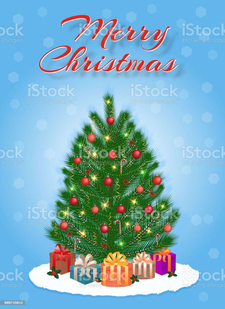 Frohe Weihnachtsgrußkarte Design In Hellen Farben Mit Weihnachtsbaum ...