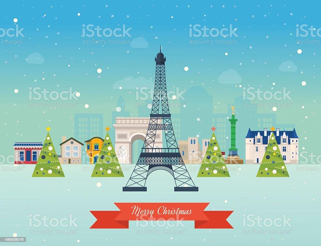 Merry Christmas Greeting Card Design Paris Winter Stock Vector Art