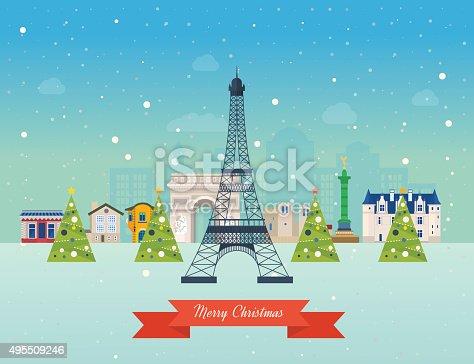 istock Merry Christmas greeting card design. Paris winter 495509246