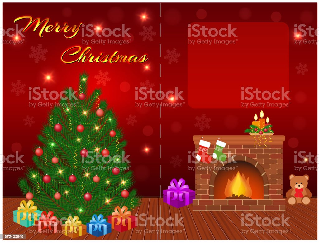 Merry Christmas Wishes Text.Merry Christmas Greeting Card Design With Empty Space For