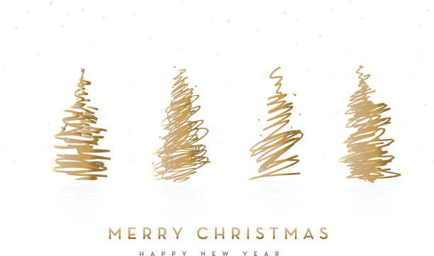 ilustrações de stock, clip art, desenhos animados e ícones de merry christmas greeting card design with trees - christmas tree