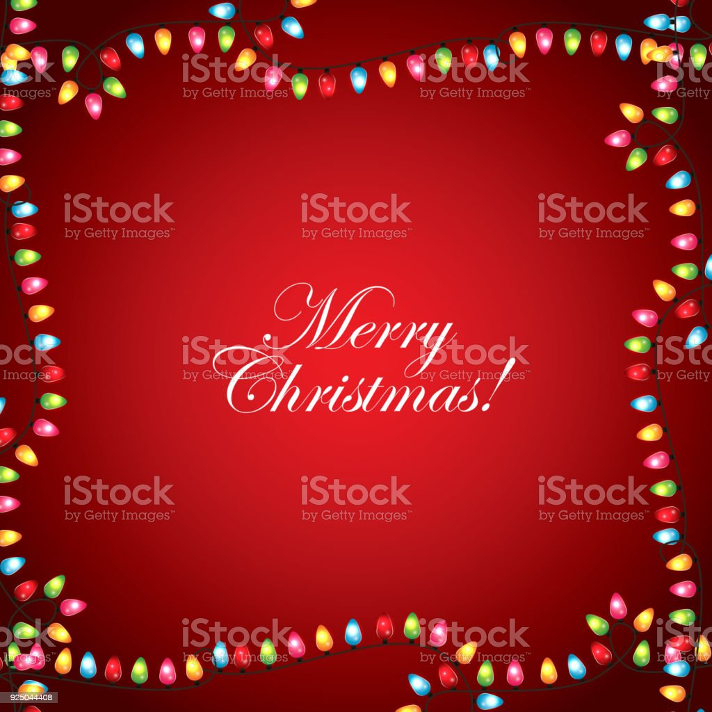 merry christmas greeting card garland lights frame red decoration background vector art illustration
