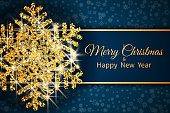 Merry Christmas greeting card. Gold snowflake on Dark blue background. Merry Christmas and Happy New Year text. Vector Illustration.