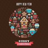 Merry Christmas and Happy New Year greeting card with winter treats and ginger desserts in circle shape. Xmas holiday poster or New Year party invitation postcard in vintage style.