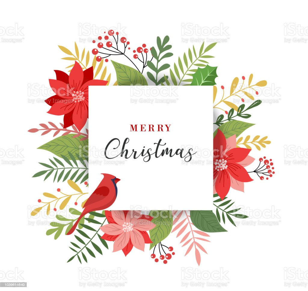 Merry Christmas greeting card in elegant, modern and classic style with leaves, flowers and bird vector art illustration