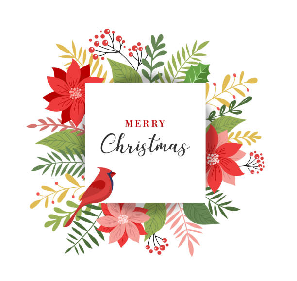 Merry Christmas greeting card in elegant, modern and classic style with leaves, flowers and bird Merry Christmas greeting card, banner and background in elegant, modern and classic style with leaves, flowers and bird bird patterns stock illustrations