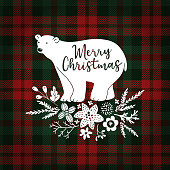 Merry Christmas greeting card, invitation. Hand drawn white polar bear with fir tree branches. Floral decoration with poinsettia and mistletoe. Tartan checkered plaid, vector illustration background