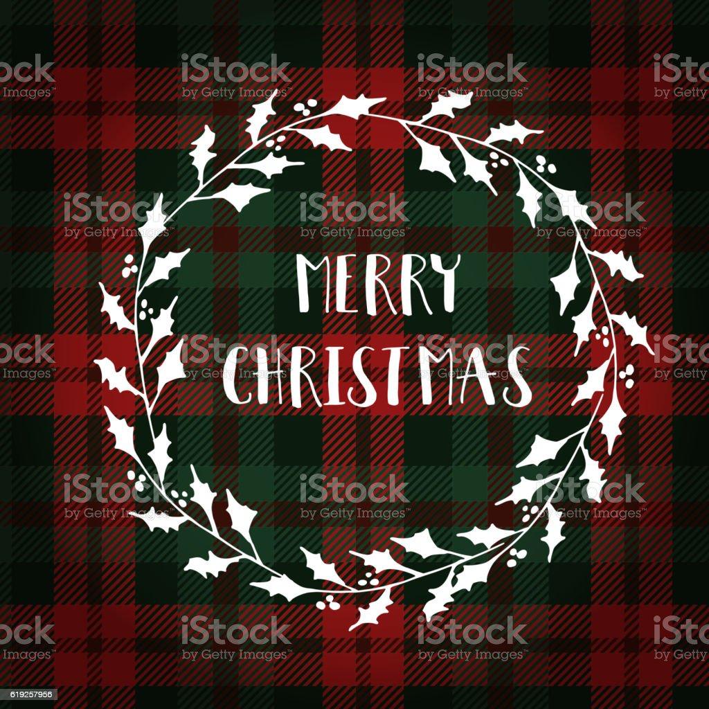 Merry Christmas greeting card, invitation. White Christmas holly wreath. vector art illustration