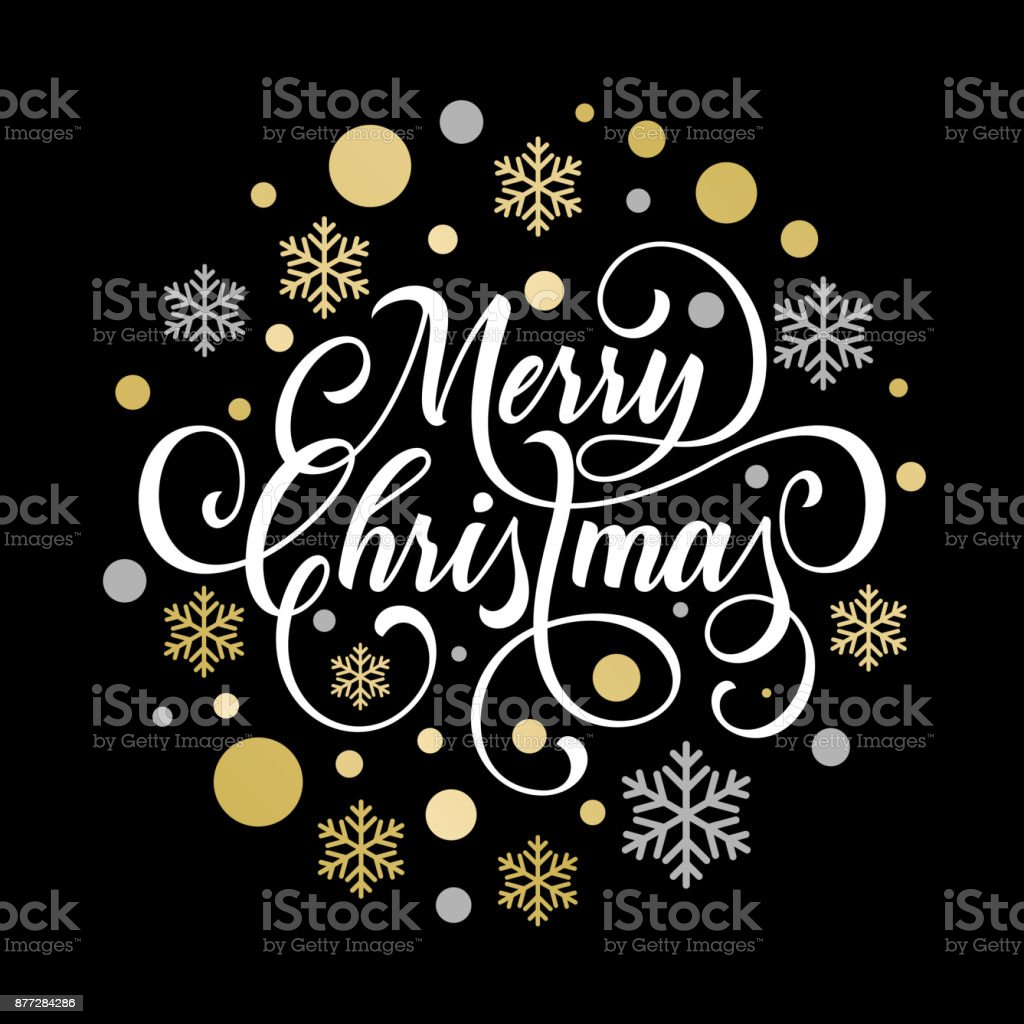 merry christmas greeting card of golden snowflake and gold glittering star pattern on premium black background
