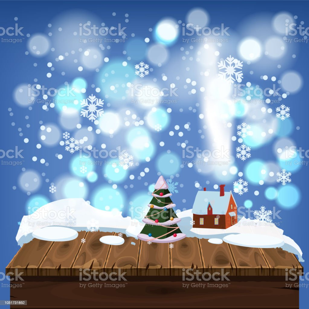 Merry Christmas Greeting Card Old Table Covered With Snow