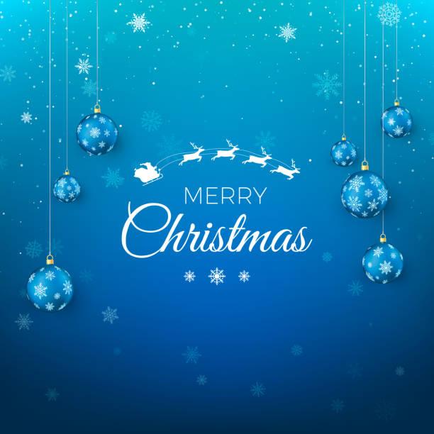 stockillustraties, clipart, cartoons en iconen met merry christmas wenskaart. santa claus vliegen in de lucht en groeten van tekst. blauwe achtergrond met sneeuwvlokken ingericht door kerstballen. vectorillustratie - blue sky