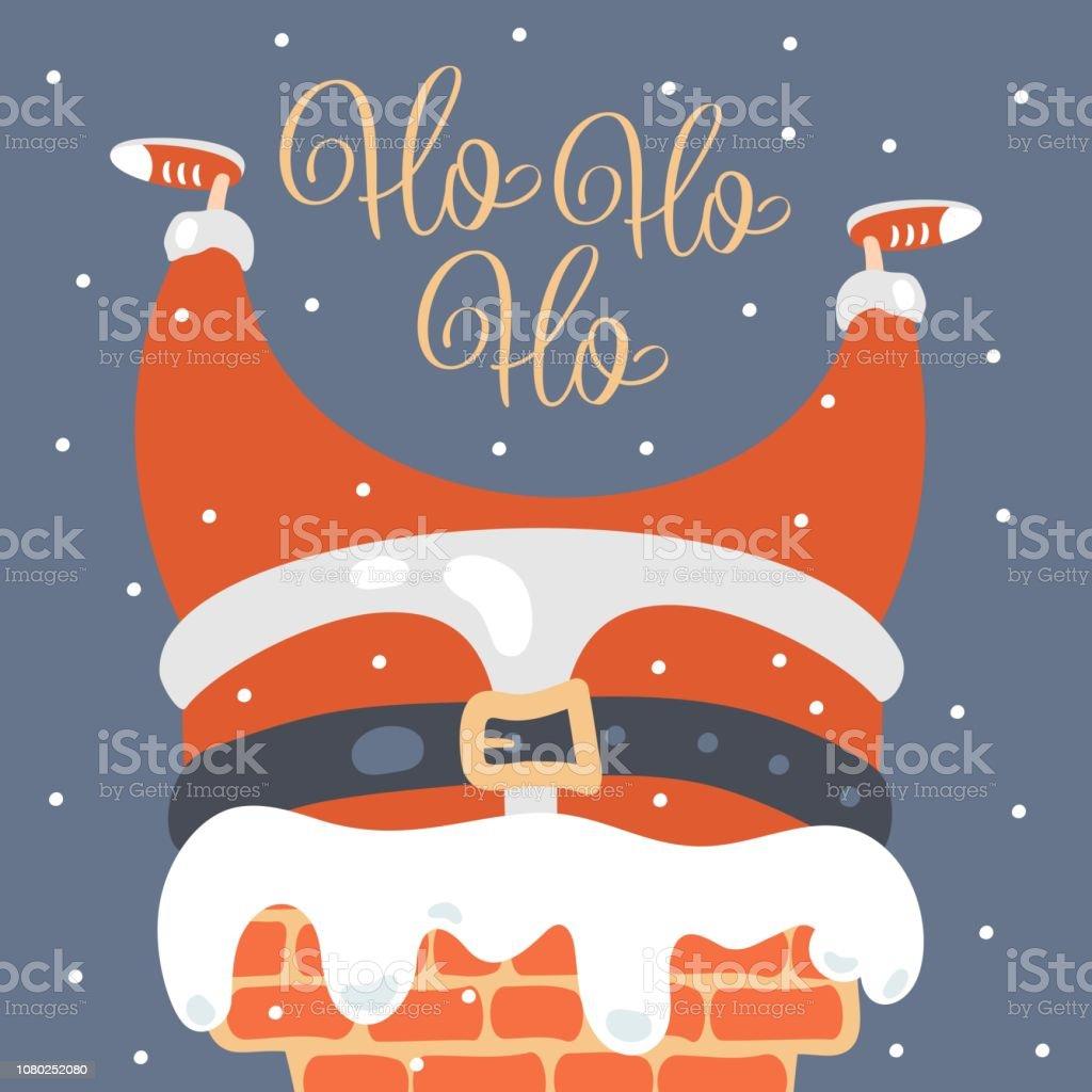 Ho Ho Ho Frohe Weihnachten.Frohe Weihnachtengrusskarte Santa Stecken In Einen