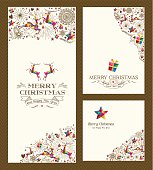 Merry Christmas vintage hand drawn elements greeting card set. EPS10 vector file organized in layers for easy editing.