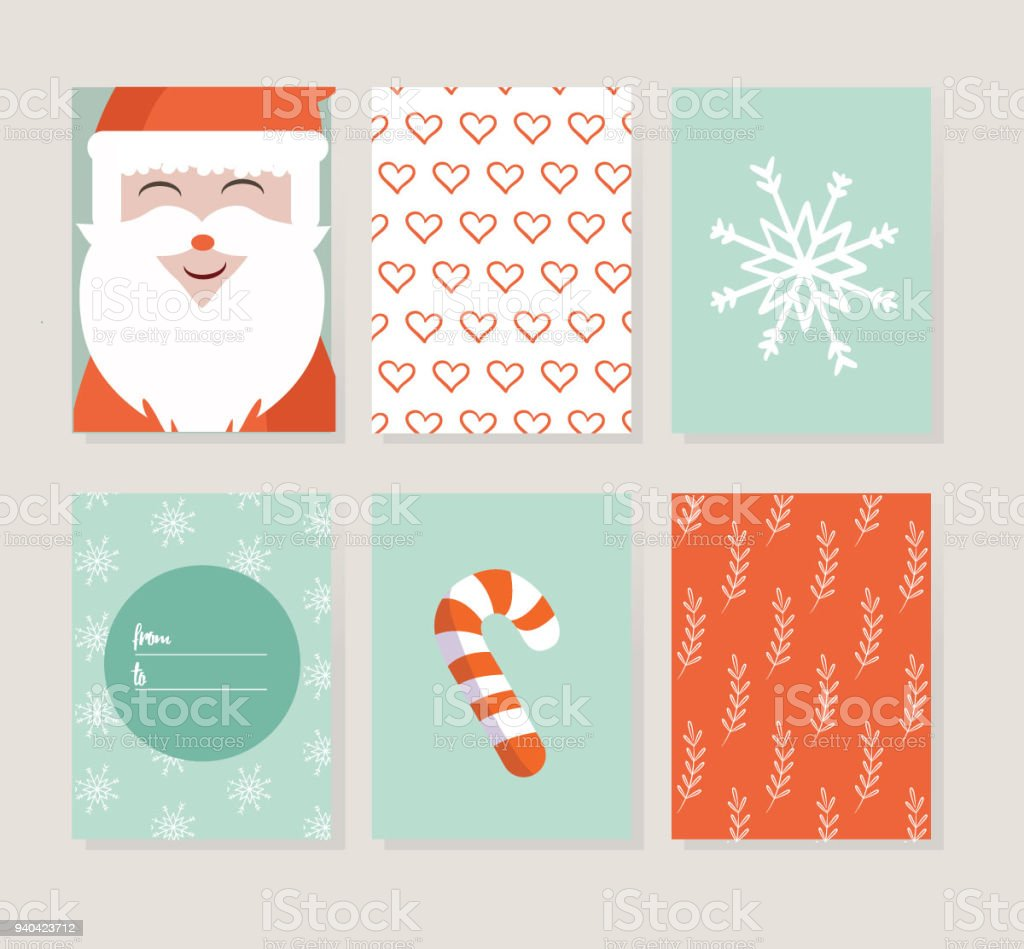 Merry christmas greeting card set with cute santa ornaments and merry christmas greeting card set with cute santa ornaments and letters design includes holiday m4hsunfo