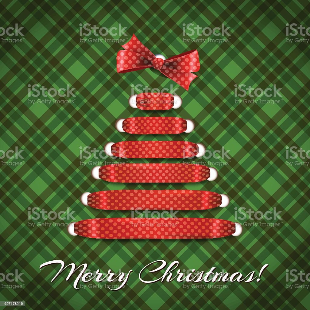 Merry Christmas Greeting Card Shoelace Tree Stock Vector Art More