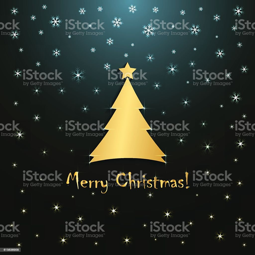 merry christmas greeting card template golden snowflakes design