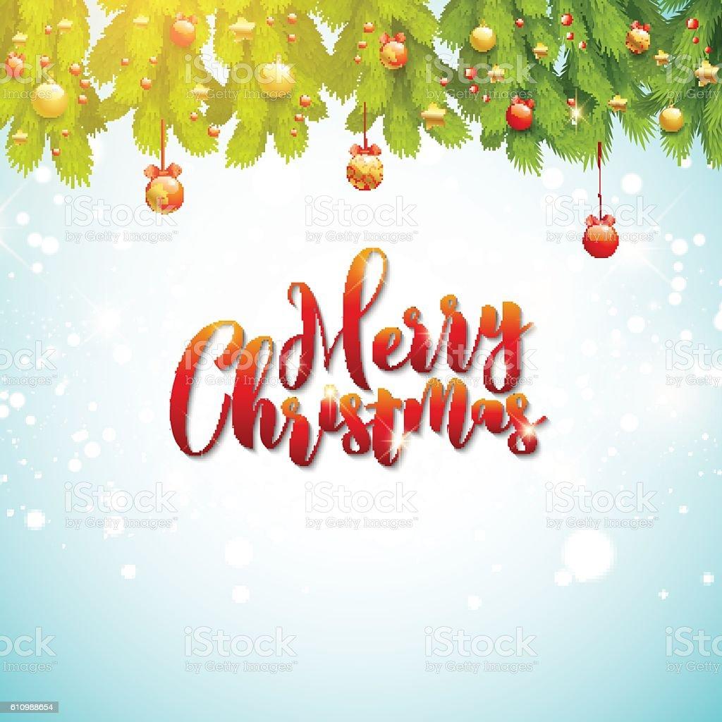 Ilustración de Merry Christmas Greeting Card Tree Branches In Frame ...