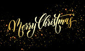 Merry Christmas greeting card of golden festive glitter confetti or sparkling fireworks on premium black background. Vector gold calligraphy lettering wish text design for Christmas winter holiday