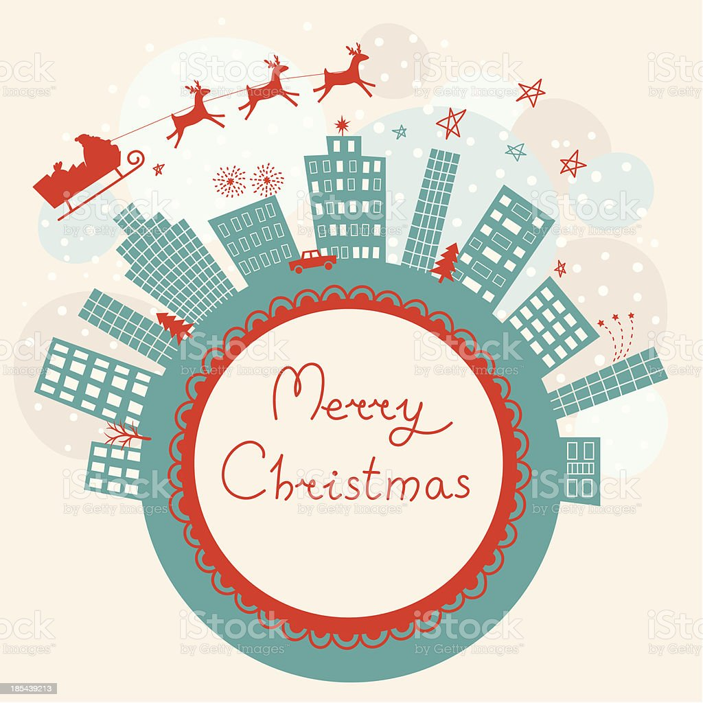 Merry Christmas greeting card royalty-free stock vector art
