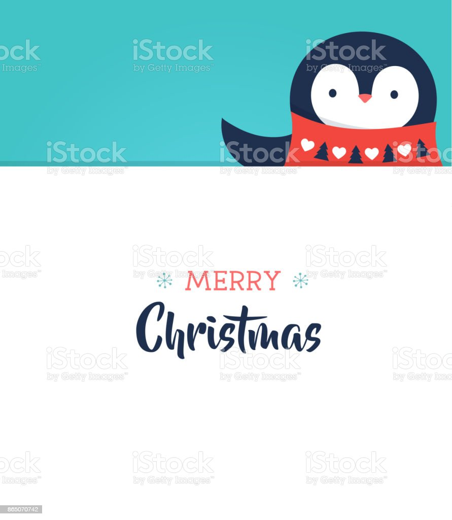 Merry Christmas greeting card with a sweet baby penguin vector art illustration