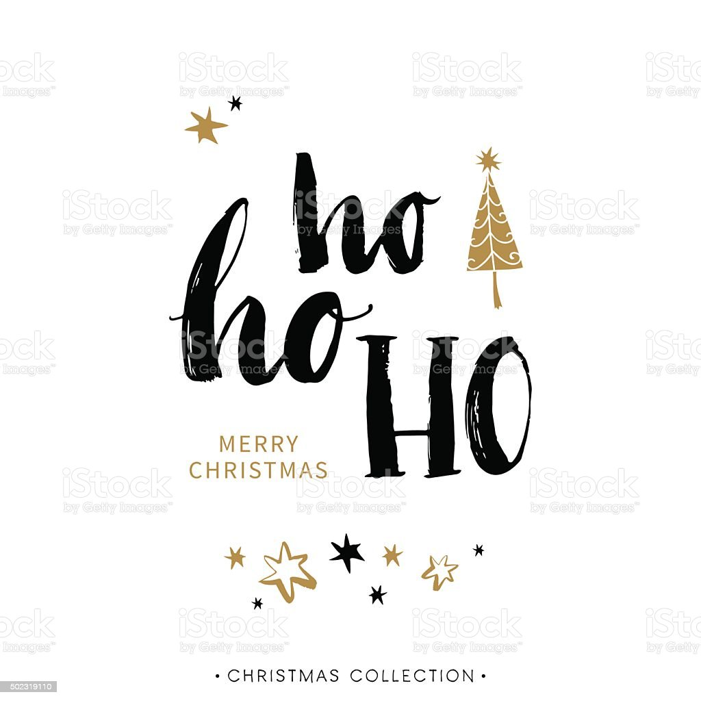 Merry christmas greeting card with calligraphy ho ho ho stock merry christmas greeting card with calligraphy ho ho ho royalty free merry christmas kristyandbryce Images