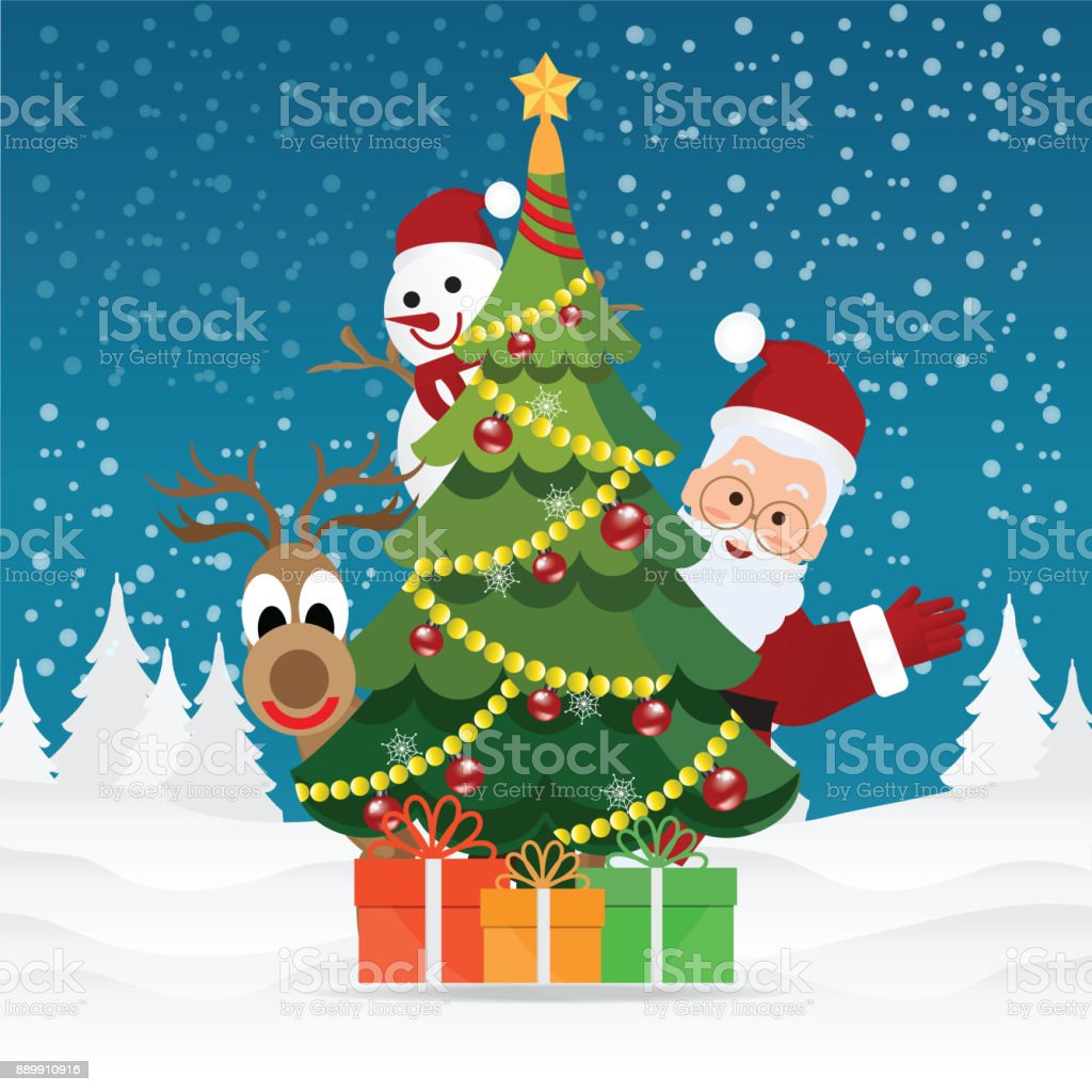 Imagenes De Papa Noel De Navidad.Ilustracion De Tarjeta De Felicitacion Feliz Navidad Con