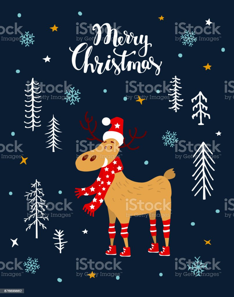 Merry christmas greeting card with cute cartoon deer in night forest merry christmas greeting card with cute cartoon deer in night forest royalty free merry christmas kristyandbryce Image collections
