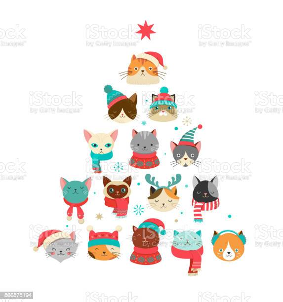 Merry christmas greeting card with cute xmas tree with cats heads vector id866875194?b=1&k=6&m=866875194&s=612x612&h=0gor2sppkxdj6cobjg7hvl605itcswmxgxeo9azb5 u=
