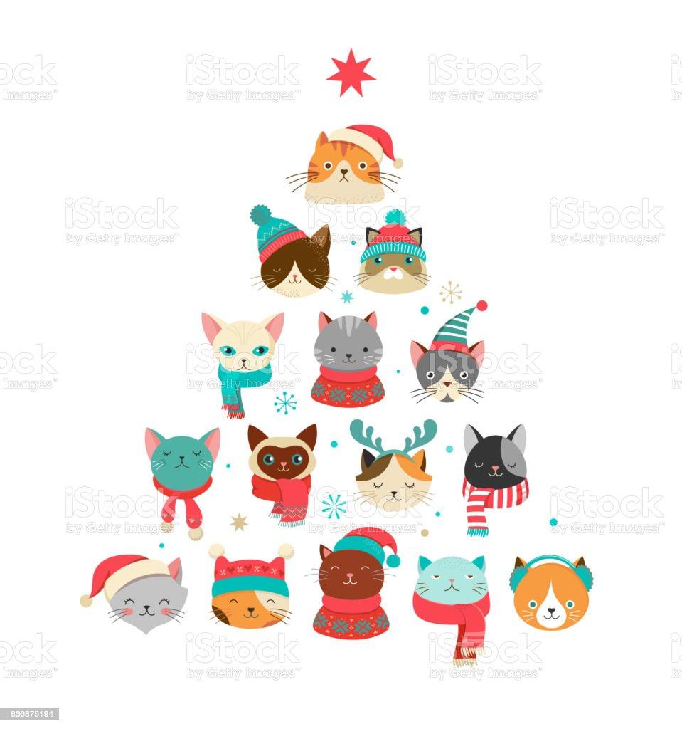 Feliz Navidad tarjeta de felicitación con lindo árbol de Navidad con cabezas de gatos - ilustración de arte vectorial