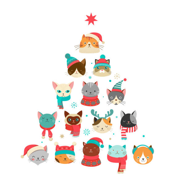 merry christmas greeting card with cute xmas tree with cats heads - cat stock illustrations, clip art, cartoons, & icons