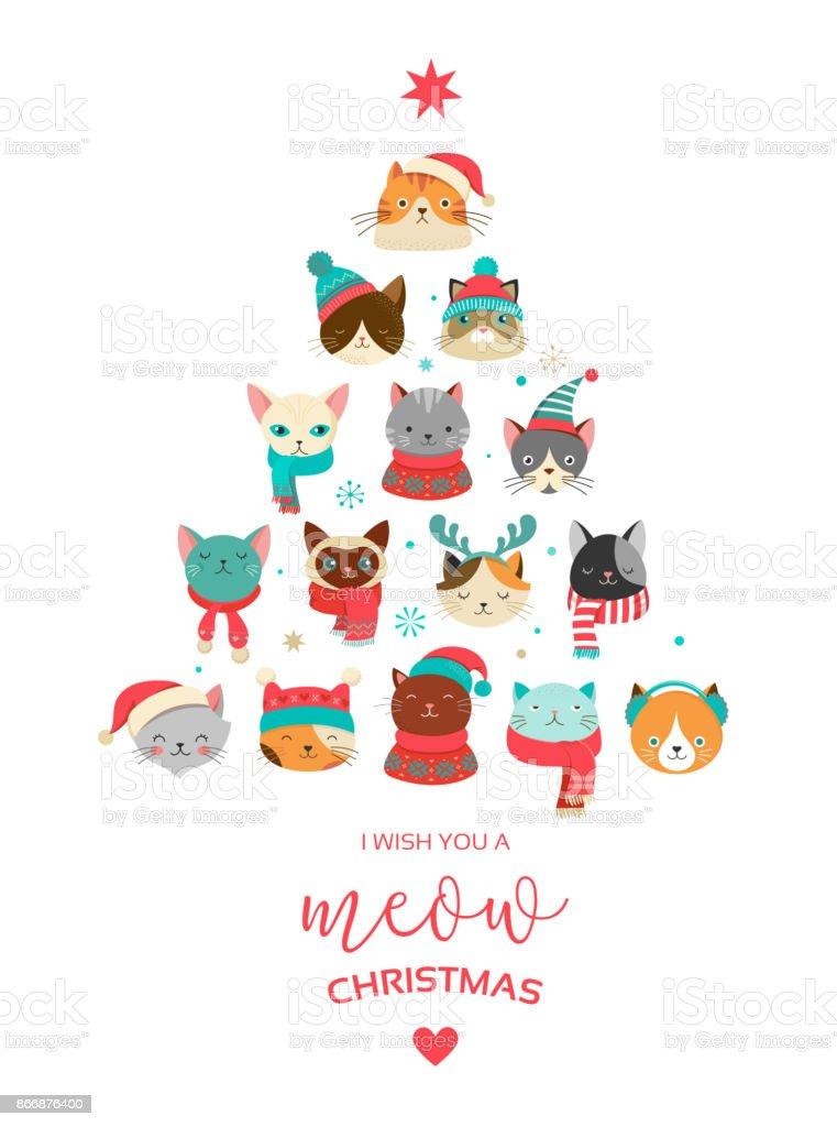 Frohe Weihnachten Katze.Frohe Weihnachten Grusskarte Mit Niedlichen Weihnachtsbaum Mit Katzen Kopf Stock Vektor Art Und Mehr Bilder Von Charakterkopf