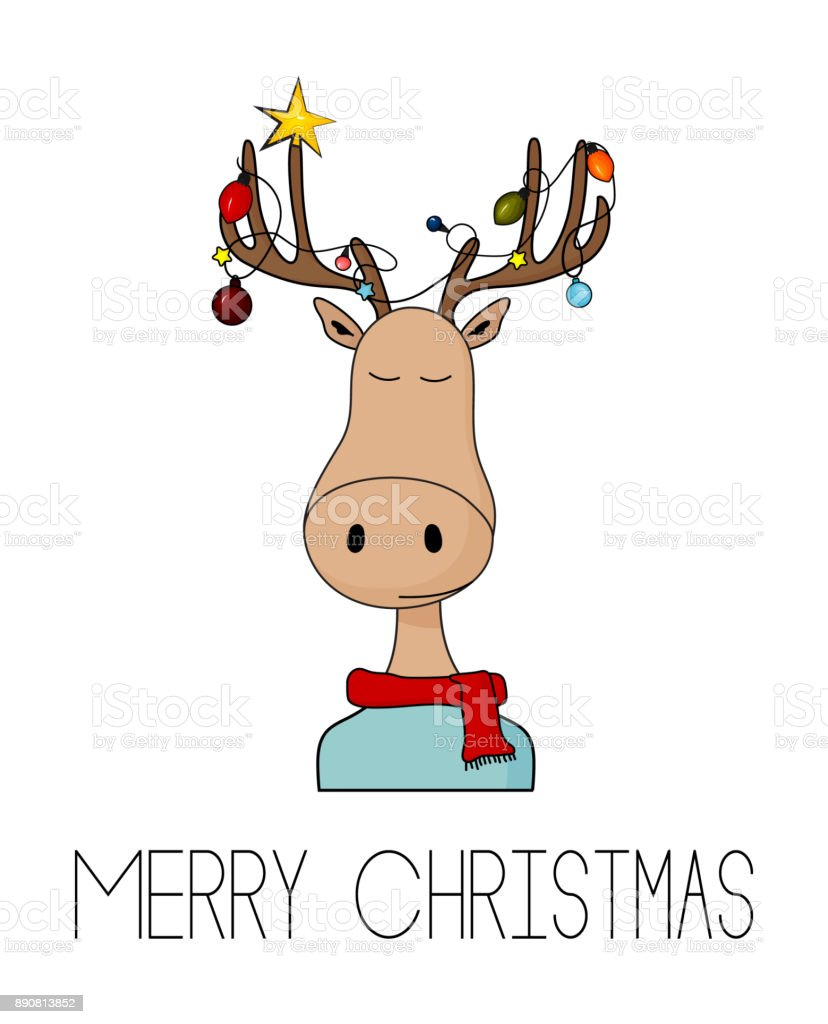 Merry Christmas Greeting Card With Deer And Garland Lights On Horns