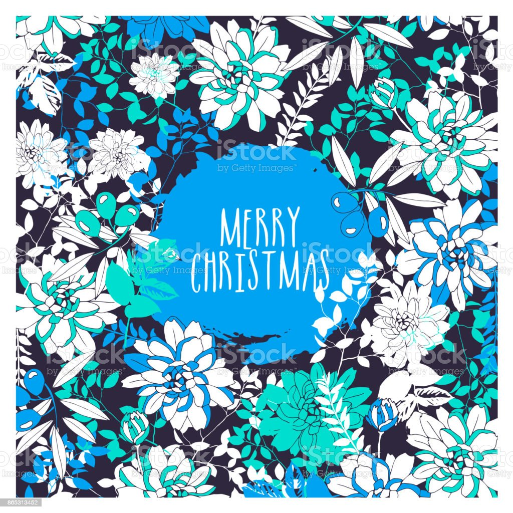 Merry christmas greeting card with flowers and olives stock vector merry christmas greeting card with flowers and olives royalty free merry christmas greeting card with m4hsunfo